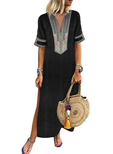 Embroidered Maxi - Dokotoo Womens Ladies Boho Summer Spring Casual Dress Short Sleeve V Neck Fashion Shift Solid Crochet Embroidered Slit Maxi Long Dress Black Small