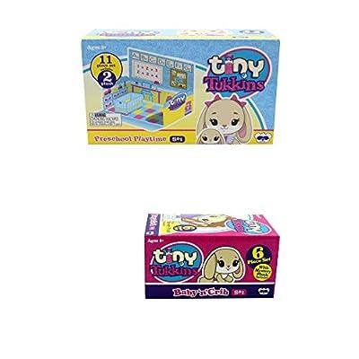 Tiny Tukkins Bunny Preschool Playtime Playset and Baby 'n' Crib Set Blind Plush Mini Pack Bundle: Toys & Games