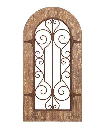 Rustic Farm Home Metal Wood Arch Wall Panel Antique Vintage Decor For Sale