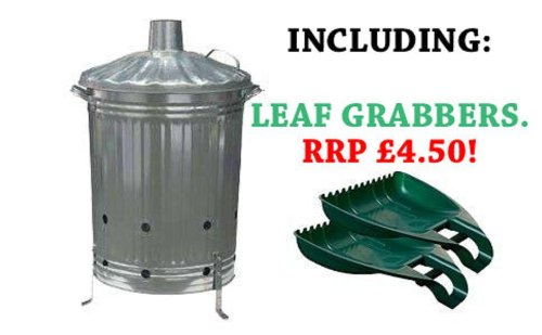 NEW GALVANISED GARDEN INCINERATOR FIRE BIN GOOD QUALITY WITH LEAF GRABBERS