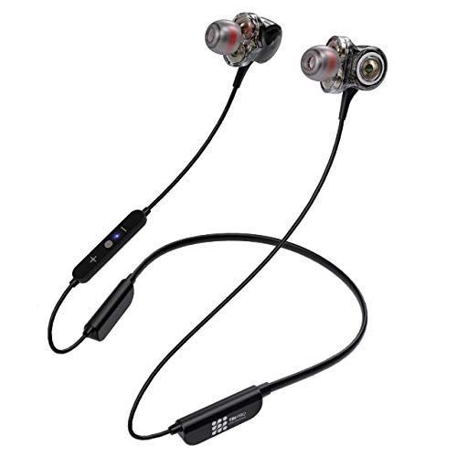 Bluetooth 5.0 Wireless Headphones - 6D Sound Effect - Up to 28 Hours Per Charge, High-End Premium Deep Bass, IPX5 Waterproof Sport in-Ear Earphones - Neckband for Running and Workouts w/ Built-In Mic