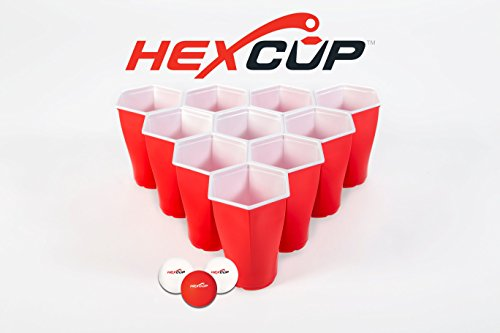 PartyPongTables.com HEXCUP Beer Pong Party Cup Set - 22 Cups & 3 Balls