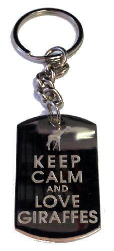 Keep Calm and Love Giraffes - Metal Ring Key Chain Keychain