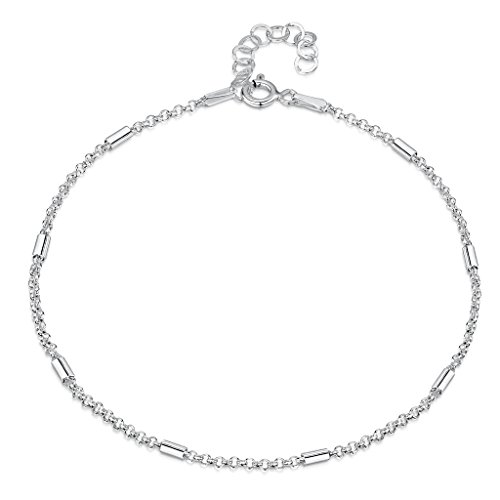 925 Fine Sterling Silver 1.4 mm Adjustable Anklet - Belcher Rolo Chain with Tubes Ankle Bracelet - 9'' to 10'' inch - Flexible Fit by Amberta (Image #5)