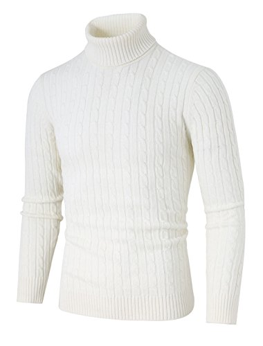 uxcell Men Turtle-Neck Long Sleeves Cable Knitted Sweater Off White XL (US 46)