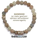 KarmaArm Beaded Meditation Mens Bracelets Stretch Mantra Reiki Healing Energy Boho Chakra Wrap Yoga Love Jewelry & Gemstone Womens Gifts Love & Light: Sunstone | CZ Diamond Pave Gifts for Him