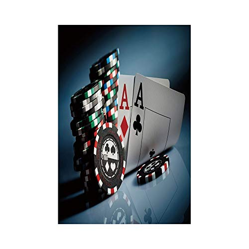 Polyester Garden Flag Outdoor Flag House Flag Banner,Poker Tournament Decorations,Gambling Chips and Pair Cards Aces Casino Wager Games Hazard,Multicolor,for Wedding Anniversary Home Outdoor Garden De