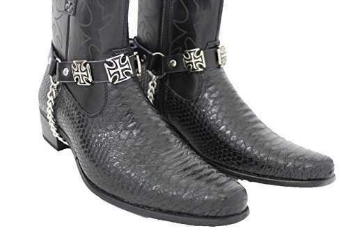 Trendy Fashion Jewelry TFJ Men Biker Boot Bracelets Black
