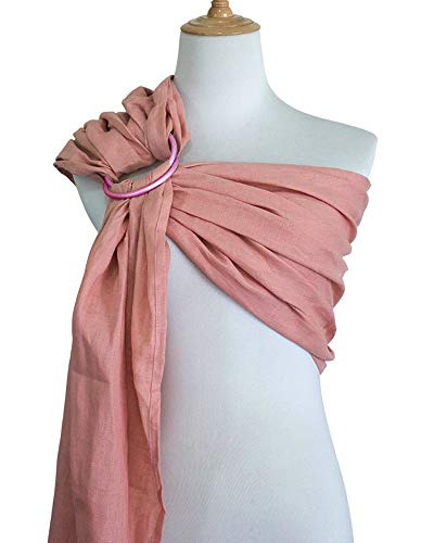 by Carrier Wrap | Luxury Linen and Cotton Baby Slings for Newborn, Infant, Toddlers, and Kids | Adjustable Metal Aluminum Rings, Lightweight Breathable, Great Shower Gift, Pink ()