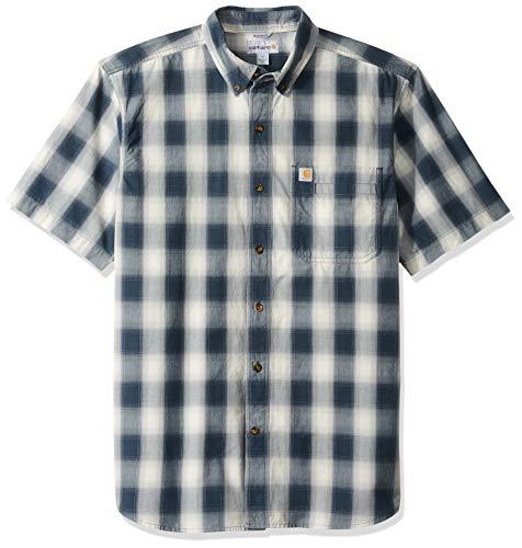 (Carhartt Men's Essential Plaid Button Down Short Sleeve Shirt, 973-Twilight, Small)