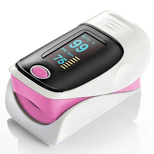 QUMOX Fingerpulsoximeter Blut-Sauerstoff Monitor Oximeter Pulsoxymeter Rosa