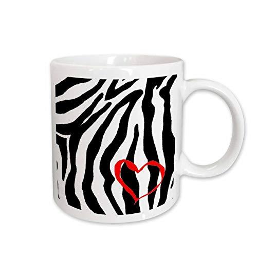 3dRose Heart Zebra Print Ceramic Mug, 15-Ounce