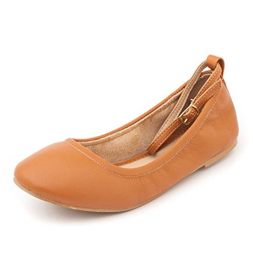 DREAM PAIR Womens Sole-Fina-Straps Ankle Straps Ballet Flats Shoes Tan twXGoQmcR