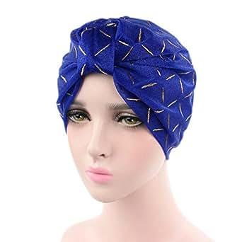 GOODCULLER Women Silk Yarn Cancer Chemo Hat Beanie Scarf Turban Head Wrap Cap (Blue)
