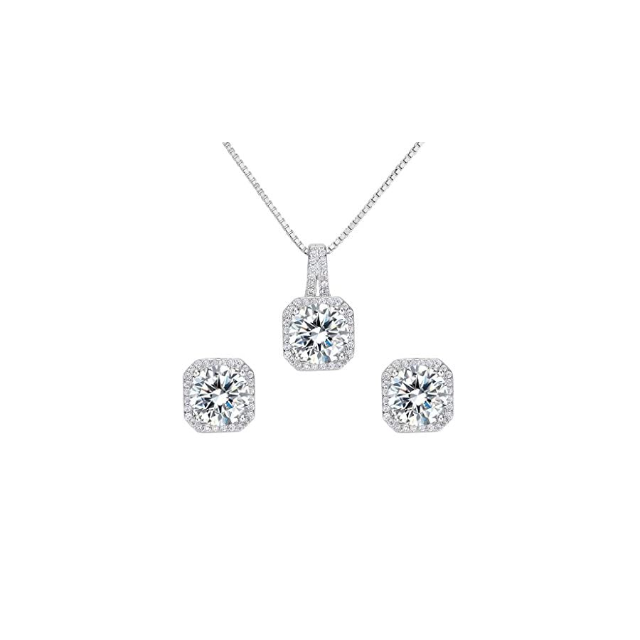 EleQueen 925 Sterling Silver Cubic Zirconia Bridal Pendant Necklace Earrings Jewlery Set Clear