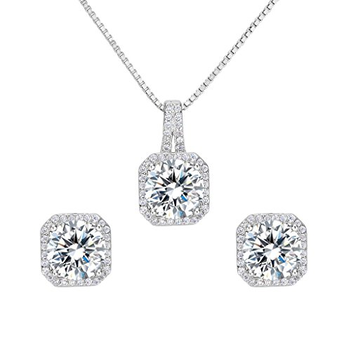 EleQueen 925 Sterling Silver Cubic Zirconia Square Bridal Pendant Necklace Stud Earrings Jewlery Set 925 Silver Studs Pendant