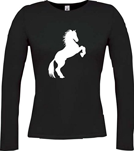 Cocodrilo Lady Manga Larga De Animales Zoo Natural wildness caballo potro Gaul Horse, muchos colores, tamaño XS–XXL negro