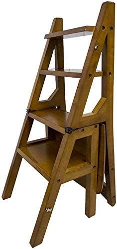 GOG Fácil y cómodo peldaño plegable taburete, silla Escalera Escalera de madera de roble de 4-Pasos estante de la flor portátil Estante de almacenamiento máximo de carga 120Kg Altura 90.5Cm plegable: Amazon.es: