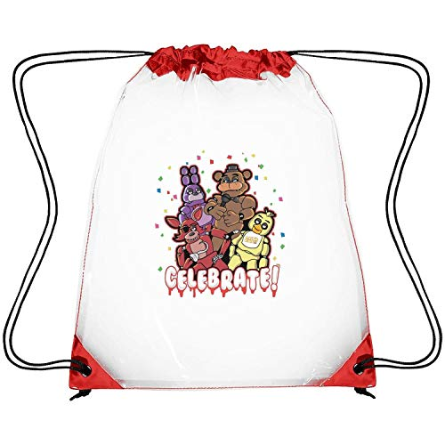 ERFDSVFSV Drawstring Clear Bags Five-Nights-at-Freddy- Printing PVC Adjustable Strap Travel Fishing Clear Plastic Bags (Water Works Monopoly Costume)