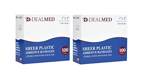Dealmed Sheer Plastic Flexible Adhesive Bandages, Sterile with Non-Stick Pad, 1