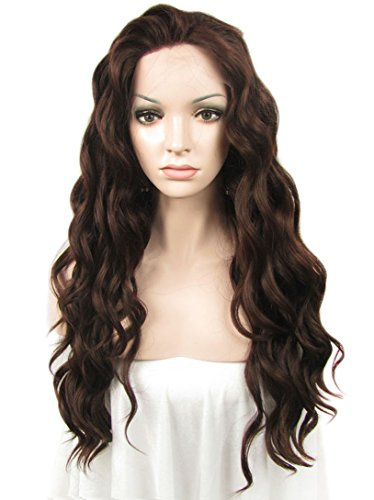 Imstyle Jenn Proske Hairstyle Dark Auburn Wig Silky Wave Swiss Lace Front Wig Synthetic (Best Synthetic Wigs)