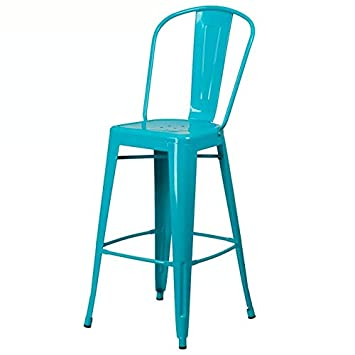 Rajtai Metal Kitchen/Bar / Cafe/Garden Chair in Turquoise Blue Color