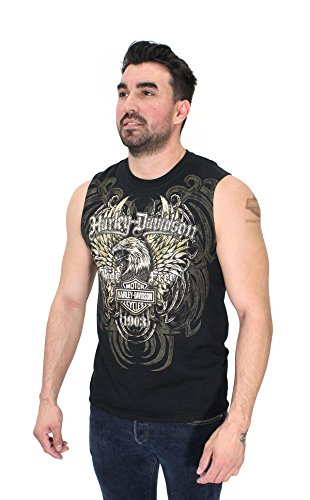 Muscle Sleeveless T-shirt Tee (Harley-Davidson Mens Winged Aggression Eagle Allover Print Black Sleeveless Muscle T-Shirt (X-Large))