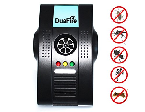 DuaFire Indoor Plug-in Ultrasonic Pests Insects Repellent with Air Purifier Night-light Repeller for Cockroach Rodents Fly Roaches Ants Spiders Fleas and more