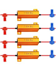 ALOPEE 50W 6ohm LED Load Resistor for Turn Signal Light Running Blink Blinker Light-(Fix Hyper Flash, Warning Cancellor,Fix Error Fast Flash) with 4pcs Quick Wire Clip(4-Pack)