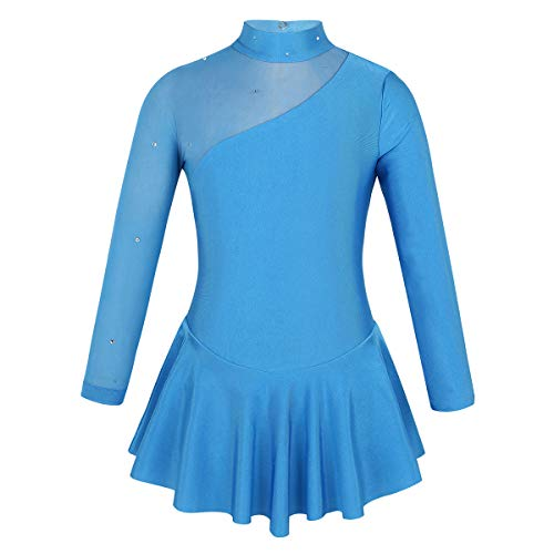 dPois Kids Girls' One-Piece Long Sleeves Floral Lace Ice Figure Skating Leotard Dress Gymnastics Dancing Costume Blue (Tulle Splice) 7-8