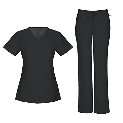 Cherokee Women's Workwear Flex With Certainty V-Neck Top 44700A & Mid Rise Moderate Flare Drawstring Pant 44101A Scrub Set (Antimicrobial) (Black - (Cherokee V-neck 2 Pocket Scrub)