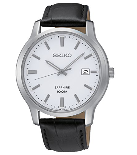 (Seiko Quartz Sapphire Silver Tone Dial Leather Band Mens Watch SGEH43)