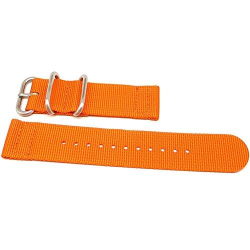 DaLuca Two Piece Ballistic Nylon NATO Watch Strap - Orange : 26mm