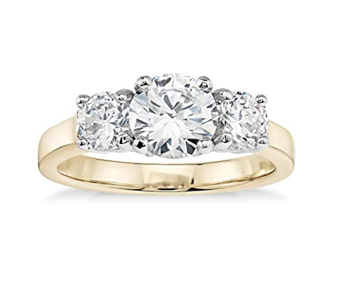 (14K Solid Yellow Gold 2.0 Carat Three-Stone CZ Engagement Ring, Size 6)