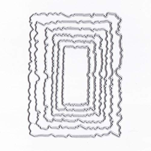 SODIAL 6pcs/t Vintage Torn Rectangle Frame Metal Cutting Dies DIY Scrapbooking Photo Album Embossing Paper Cards Decorative Craft