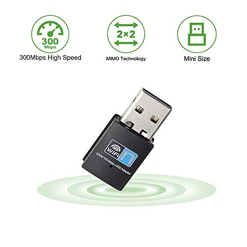 USB WiFi Adapter 300Mbps Plug and Play WiFi Dongle for PC Desktop Laptop,Wireless Network Adapter Support Windows 10/8/8.1/7/XP,Nano Size No CD Needed ...