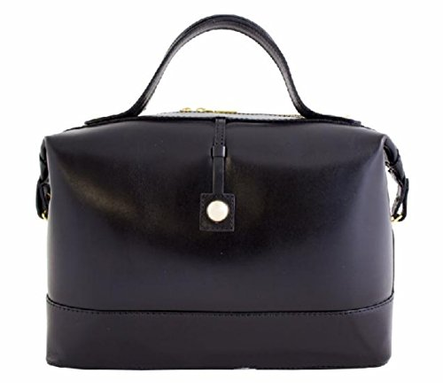 a Superflybags et en Italie Noir Modèle Sac en Véritable Serena Bauletto main lisse Sac Fabriqué cuir brillant qwZFznqrx