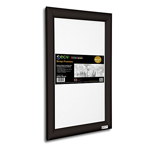 SECO Front Load Easy Open Snap Frame Poster/Picture Frame 8.5 x 11 Inches, Black Aluminum Frame (SN8511Black)