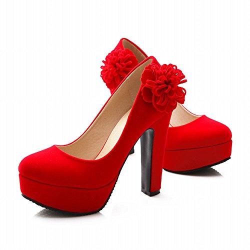 Mee Shoes Damen Plateau high heels Nubukleder Pumps Abendschuhe Rot