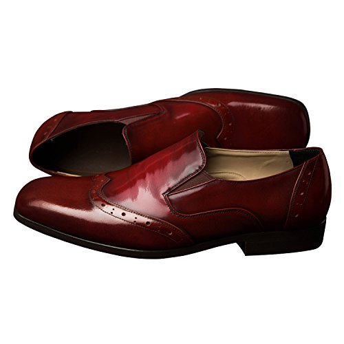 iTailor Mens Handmade Shoes : Burnished Maroon Leather Brogue Slip On Shoes Burnished Maroon LSGCAB1