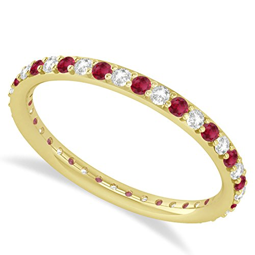 omega jewellery 14K Yellow Gold Round Real Diamond & Sim. Gemstone Full Eternity Wedding Band Ring (0.57 Ct)