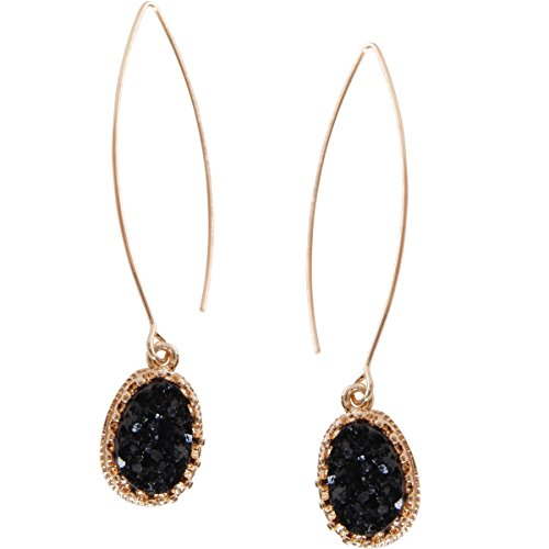 Humble Chic Simulated Druzy Needle Drops - Gold-Tone Threader Upside-Down Hoop Dangle Earrings for Women, Black, Simulated Onyx, Gold-Tone