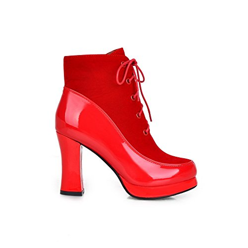 amp;N Chunky Leather Patent Boots Platform Red Bandage Heels A Girls RAngaAZ
