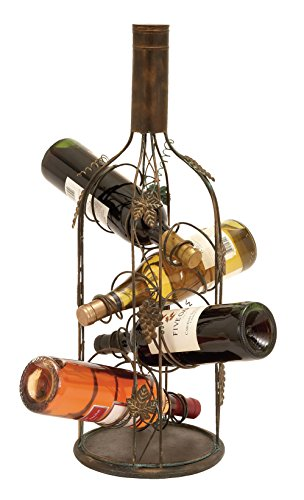 Deco 79 55978 Rustic Brown Iron Bottle and Climbing Grape Vine Four-Bottle Wine Rack, 24″ X 9″ Review