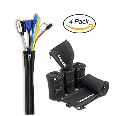 Cable Management Sleeve System - 4 Pack 20-Inch Black Cord Organizers with Zipper, Connector Buckles and Wire Labels -By HomeyHomes