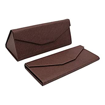 REAL SIC Solid Color Eco Leather Magnetic Folding Hard Case for Sunglasses, Eyeglasses, Reading Glasses (Brown)