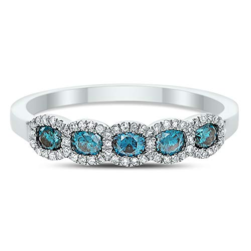 D C DIAMOND COUTURE 14KW 0.09 ct WH DIA AND 0.41 ct BLUE DIA RING- SIZE 7, I-J Color, I1-I2 Clarity from D C DIAMOND COUTURE