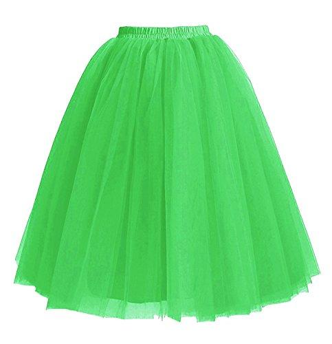 5 Longueur Facent Robe Tutu Couches Jupes Jupons Genou Femmes Vert Tulle 65cm sous RRr5q0