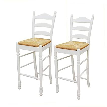 Amazoncom Ladder Back Rush Seat Bar Stools 30 Set Of 2 Multiple