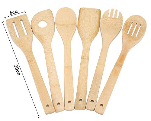 Compra KOBWA - Juego de utensilios de cocina de bambú, 6 piezas, 12 pulgadas, cuchara de tres líneas, cuchara de muesca y pala de agujero redondo, ...